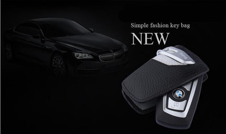Genuine Leather Car Key Case Sport Line FOB Holder For BMW 2 3 5Series X3-Silver