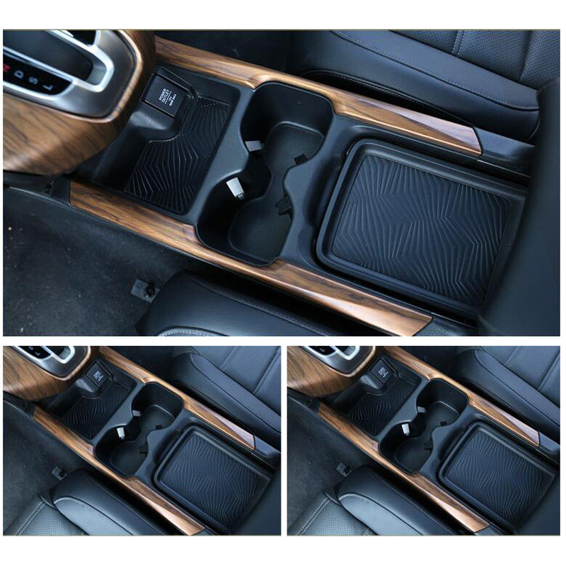 For Honda CRV CR-V 2017-2018 Peach Wood Grain Water Cup 2Pcs  Holder Stripe Trim