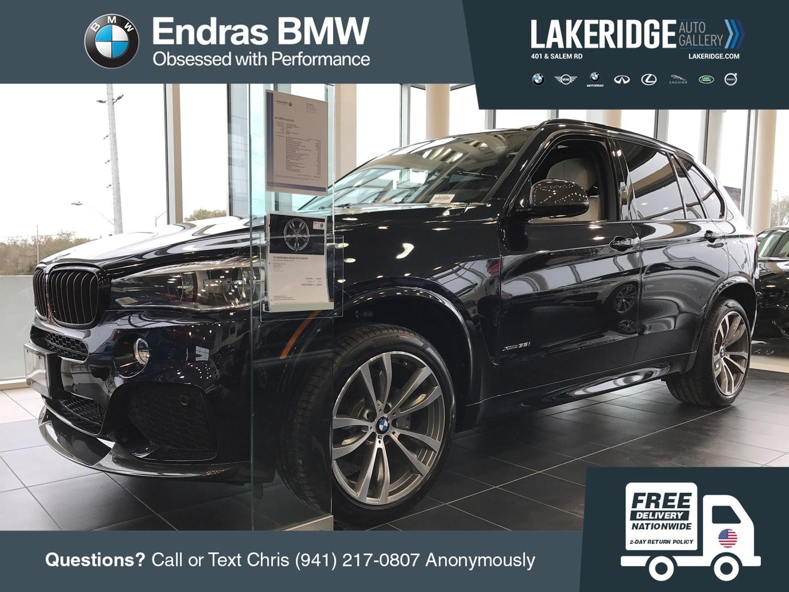 Great 2017 BMW X5 XDrive35i 3 Miles Carbon