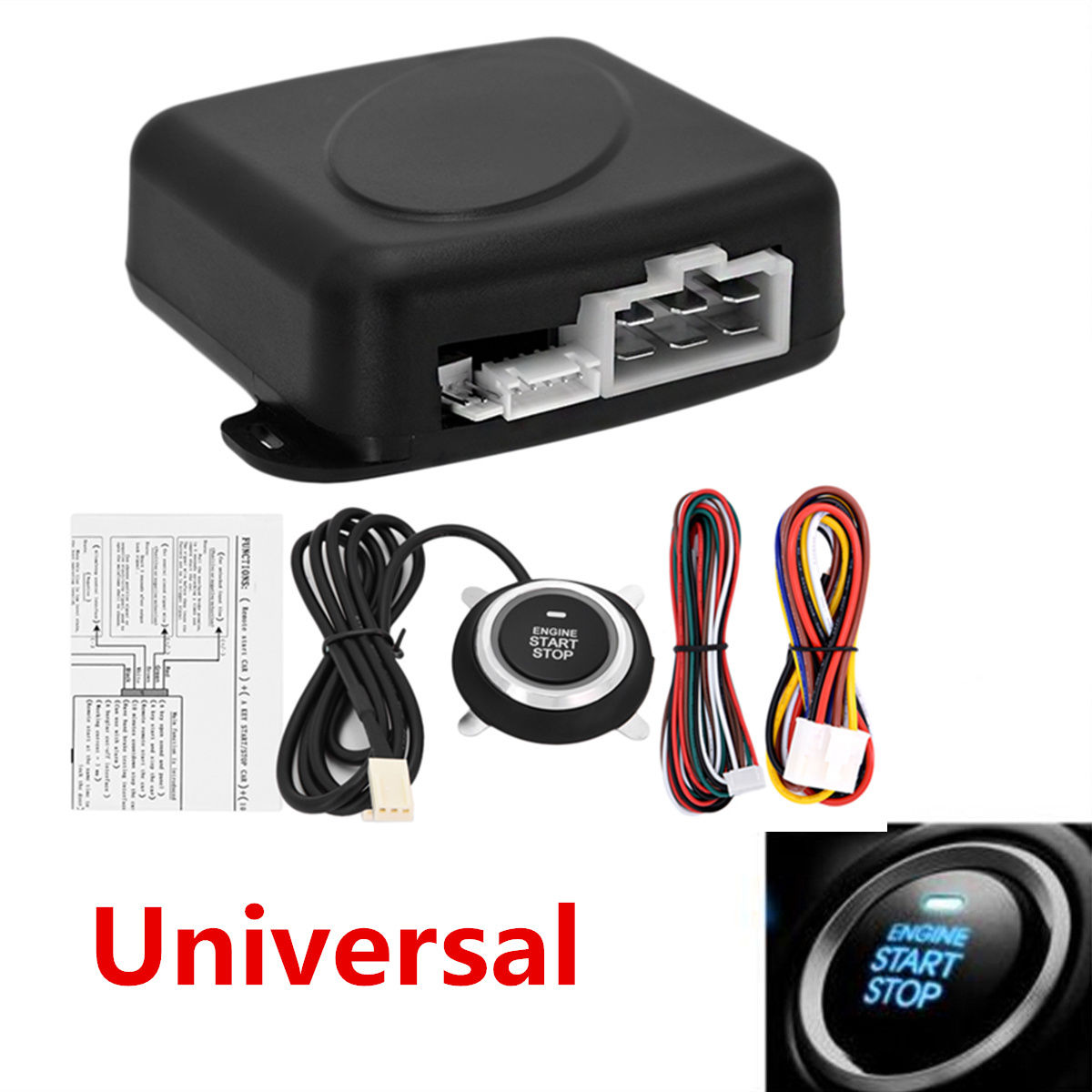 Used Auto Car Alarm System Security Keyless Entry Engine Start Push Button Remote Kit 2017