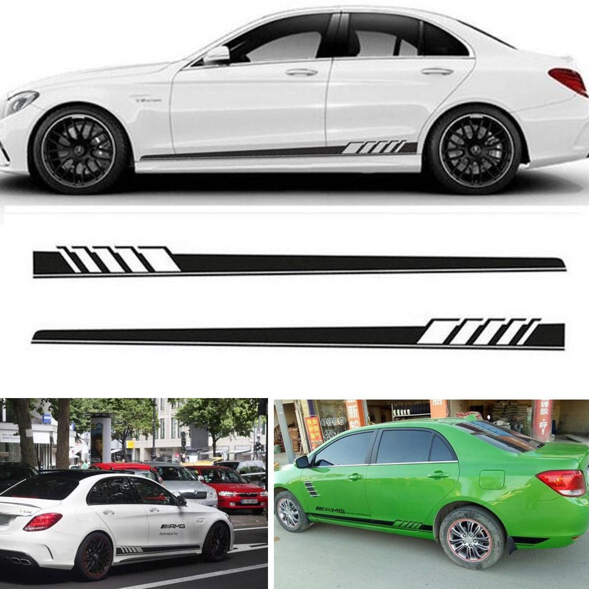 Great racing car both side body sports long stripe decals graphics vinyl car stickers 2017 2018