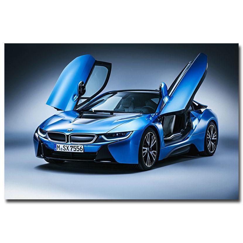 "Awesome 8×12"" 0335A BMW I8 Blue Supercar-Print Art Silk"