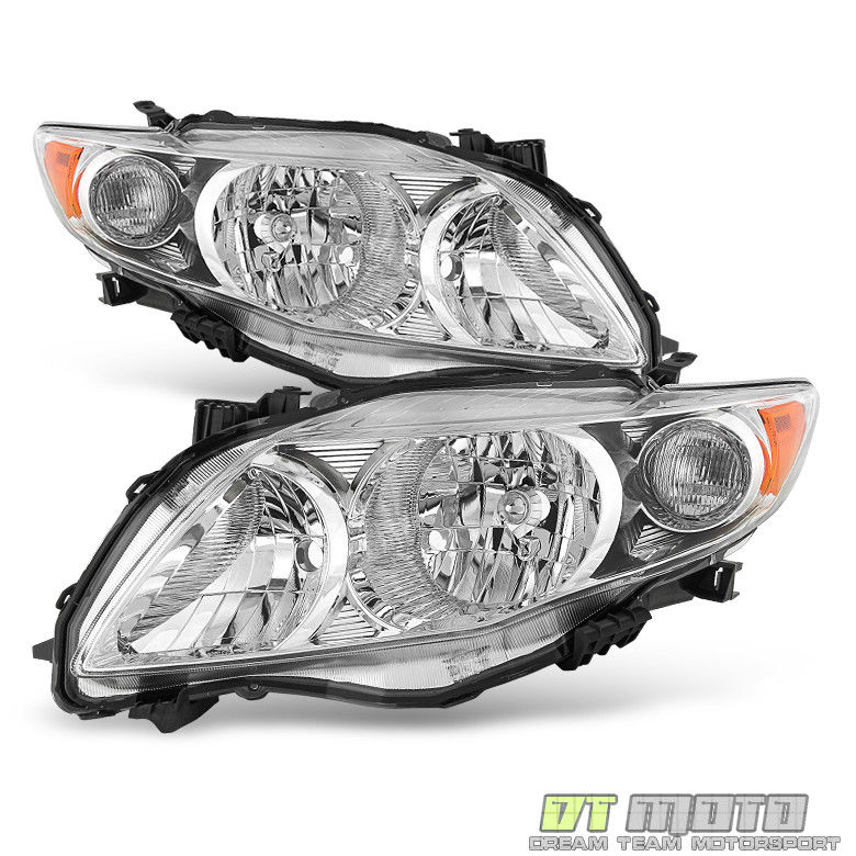 Great Chrome Pair 2009 2010 Toyota Corolla Headlights Headlamps Replacement Left Right 2018 2019