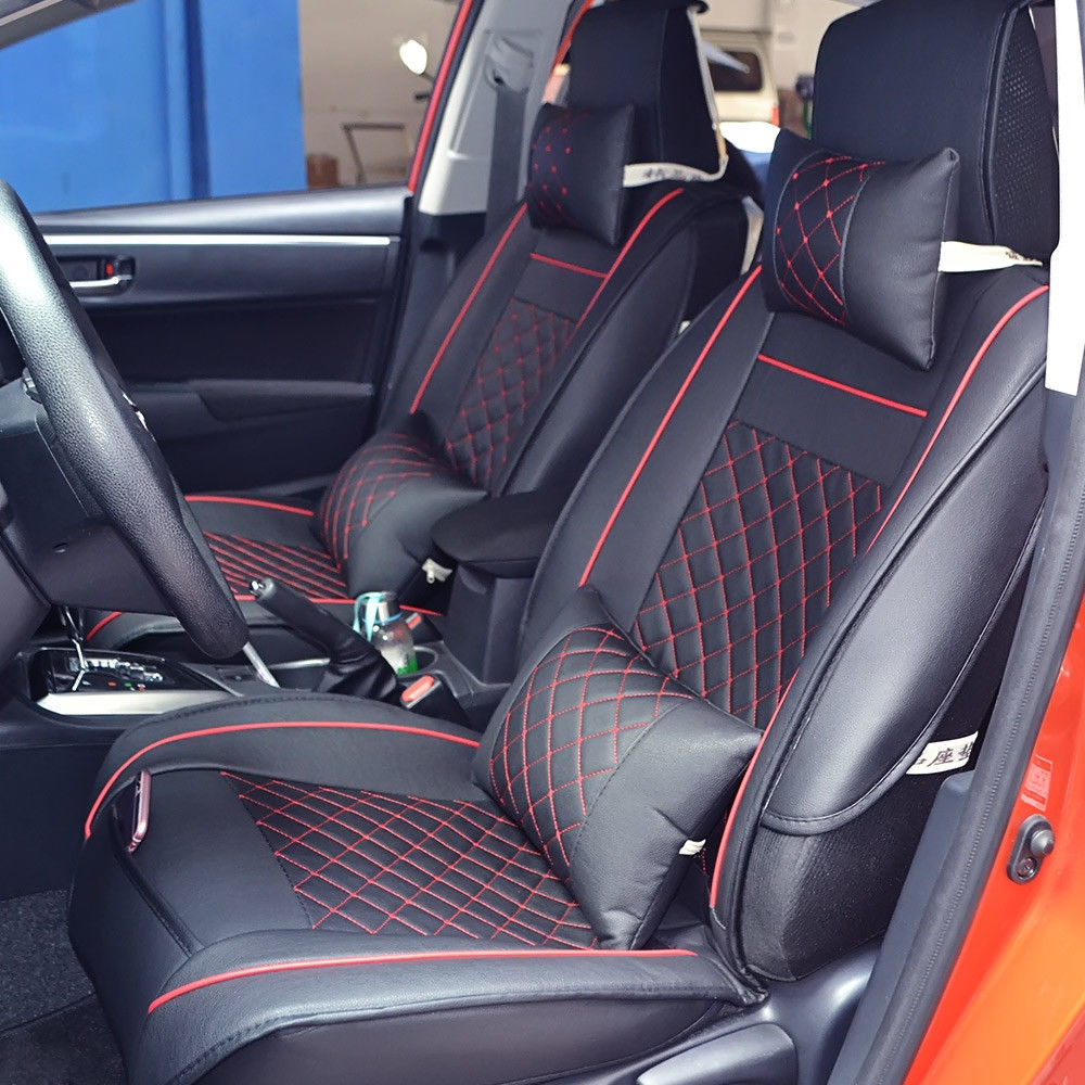 Car Seat Cover Front /& Rear Auto 5-Seats Cushion W//Pillows PU Leather US Size M