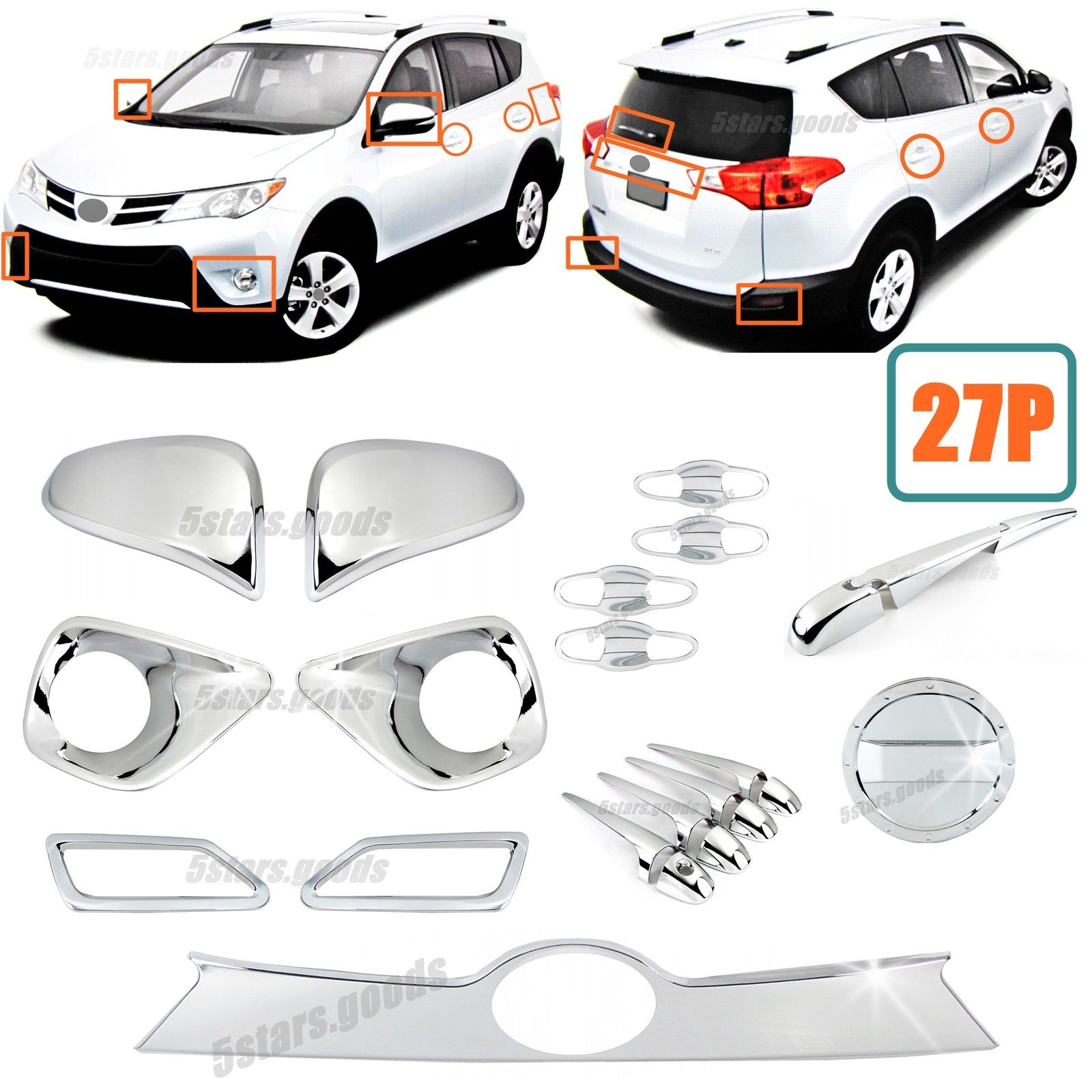 Awesome 27p Accessories Chrome Molding Covers Trims For Toyota Rav4 2017 2018