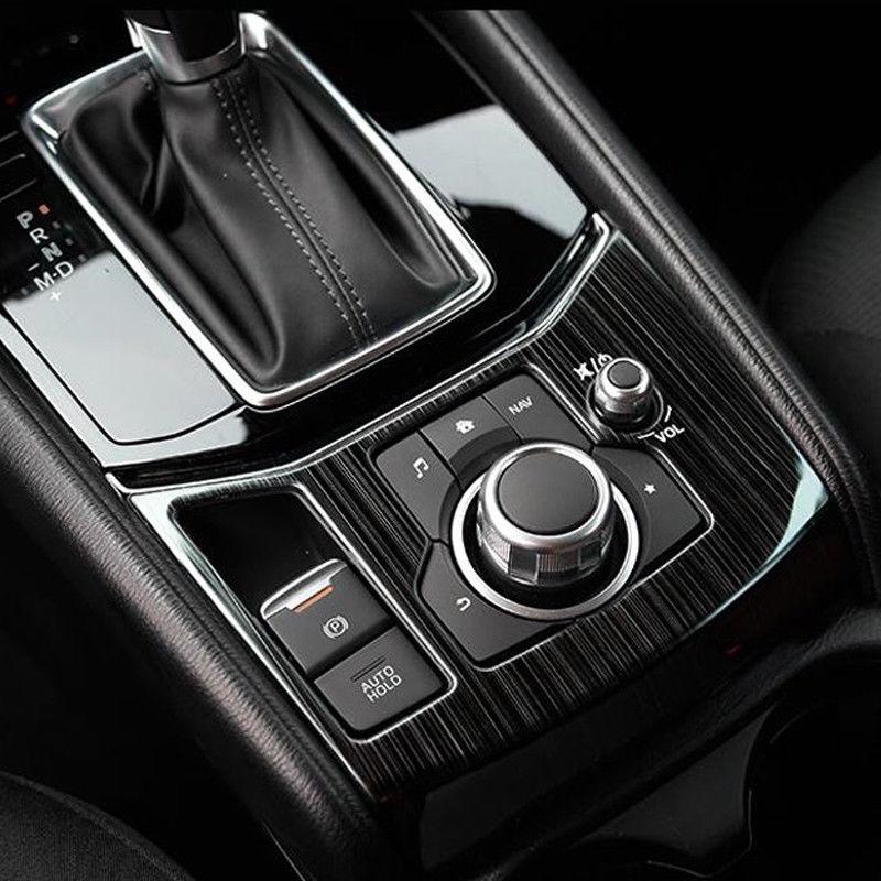 Great Black Titanium Interior Gear Shift Frame Cover Trim For Mazda