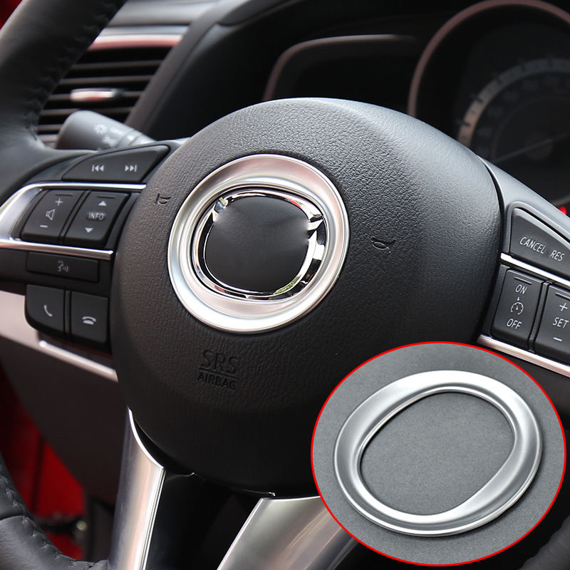 Great Fit For 14 Mazda 3 Axela Chrome Steering Wheel Panel Cover