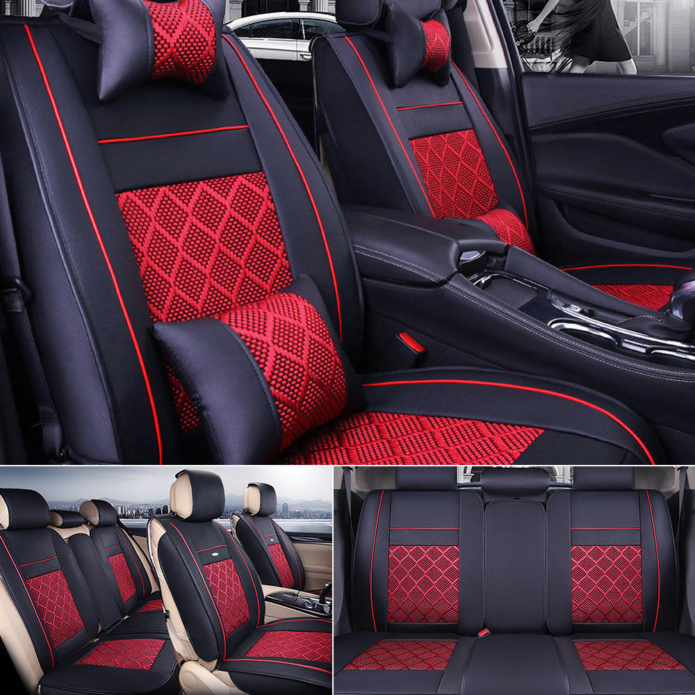 Amazing Us 5 Seat Car Pu Leather Comfort Mesh Seat Covers Front Rear Black Red W Pillows 2017 2018