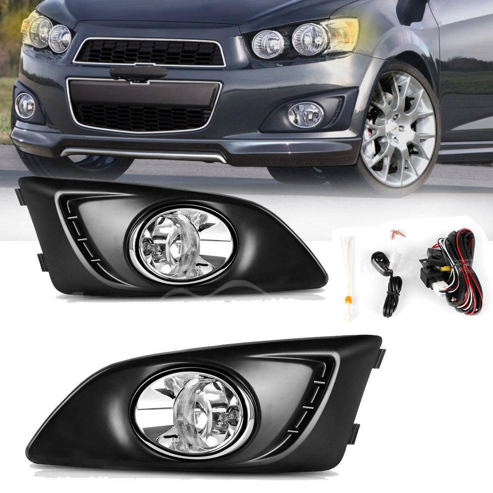 Awesome For 12 16 Chevy Sonic Aveo Bumper Lamps Clear Fog Lights Wiring A Switch Pair Kit 2018 2019