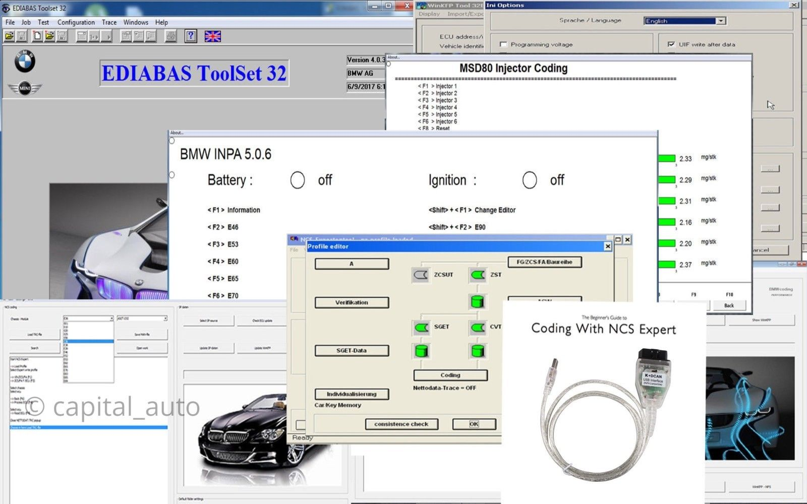 Great BMW K + DCAN OBD2 USB Cable FTDI FT232RL + BMW Tools INPA EDIABAS NCS  EXPERT 2017 2018