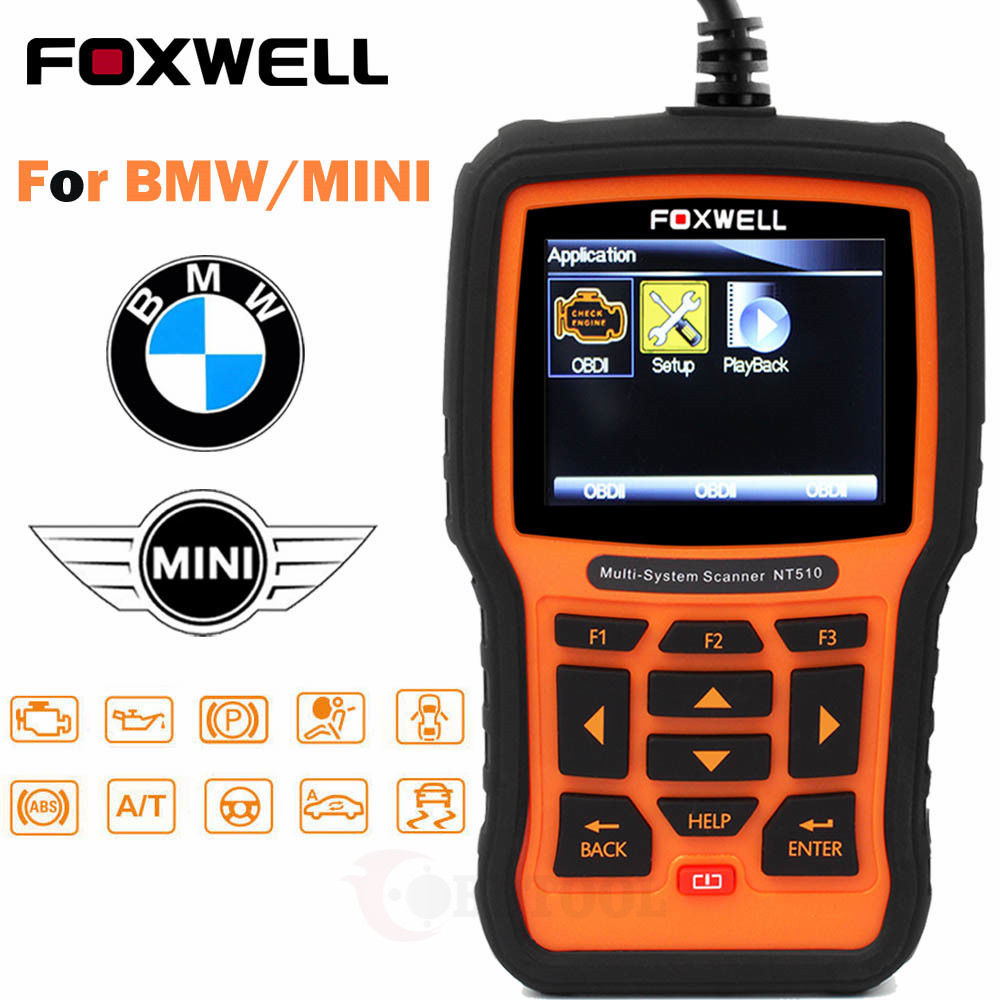 Great ABS SRS Reset OBD2 Code Reader Engine For BMW Full System Scanner  Foxwell NT510 2018-2019