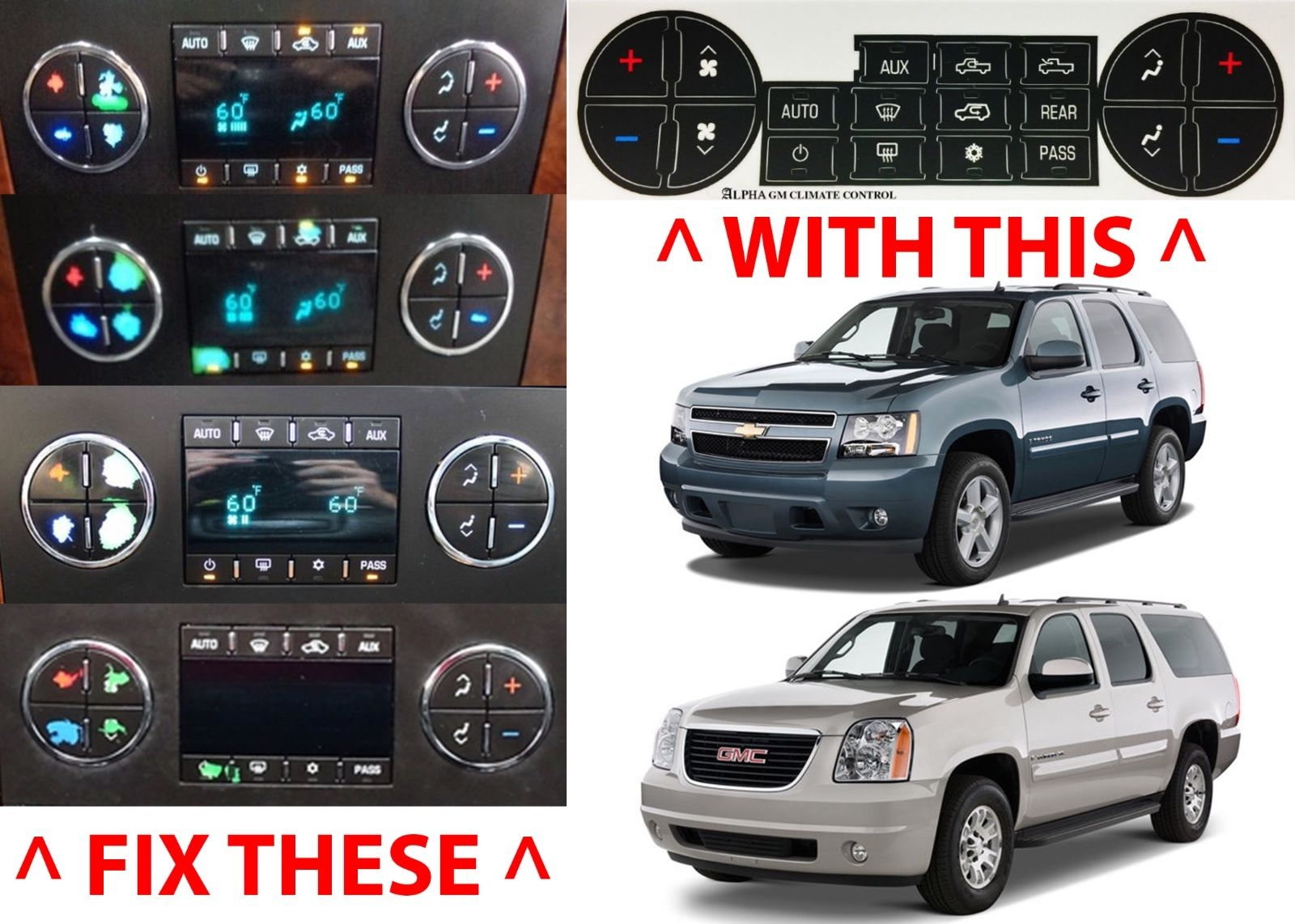 Great AC Climate Control Button Replacement Stickers 2007-2014 Chevrolet  GMC HVAC New 2018-2019