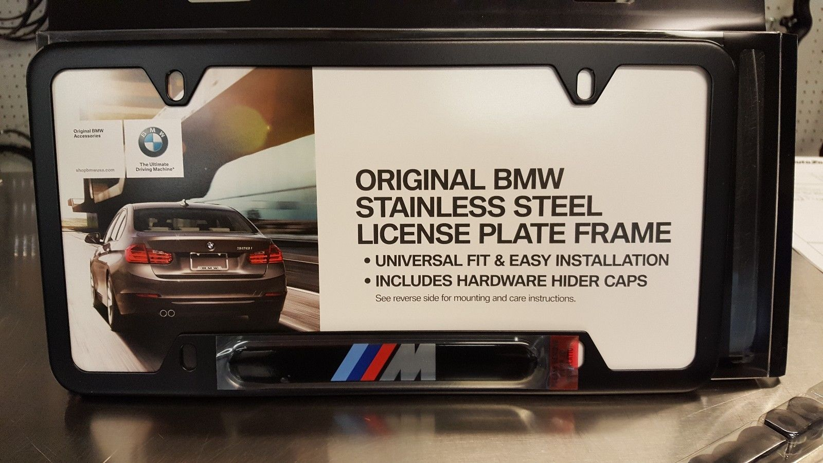 Great BMW M LOGO LICENSE PLATE FRAME – BLACK STAINLESS STEEL 2017 ...