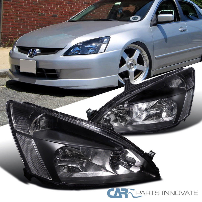 Amazing Fit 03 07 Honda Accord Headlights Driving Head Lamps Pair Jdm Black Replacement 2017 2018