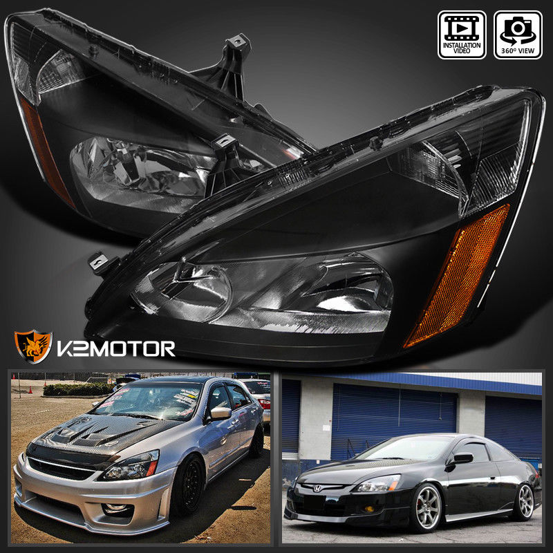 Amazing For 2003 2007 Honda Accord 2 4dr Jdm Black Replacement Headlights Left Right 2017 2018
