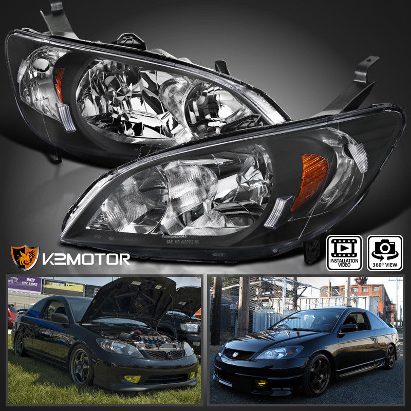 Amazing For 2004 2005 Honda Civic Jdm Black Headlights Head Lamps Pair Replacement 2017 2018