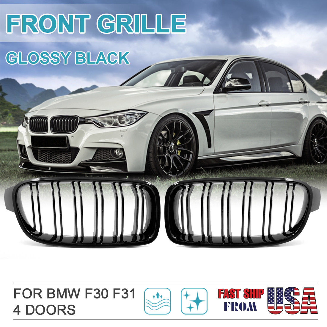 Great Gloss Black Front Kidney Grille For Bmw F30 F31 328i 335i