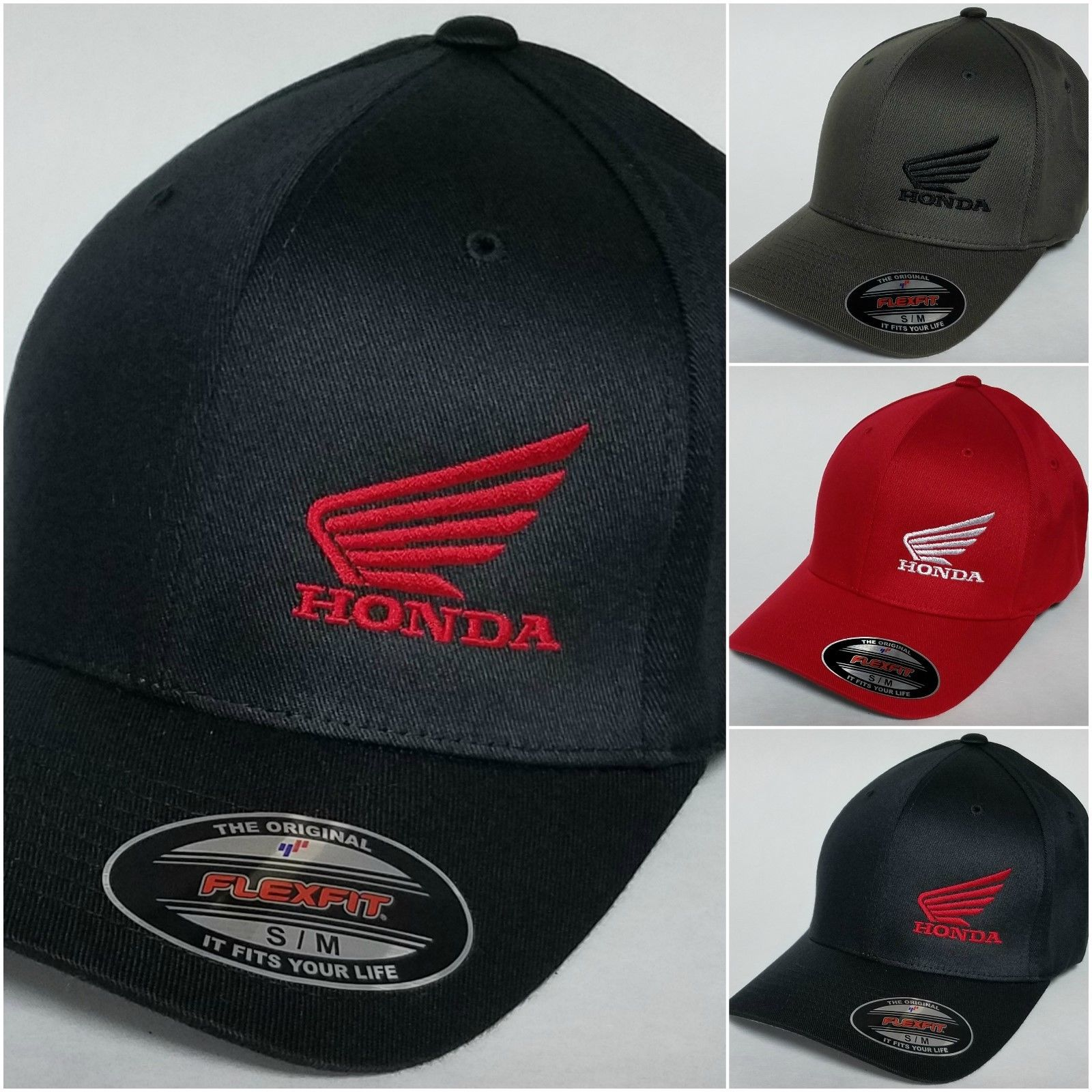 441de0c7d36 Great Honda MC Wing FLEXFIT Baseball Hat Cap Honda Motorcycle ...