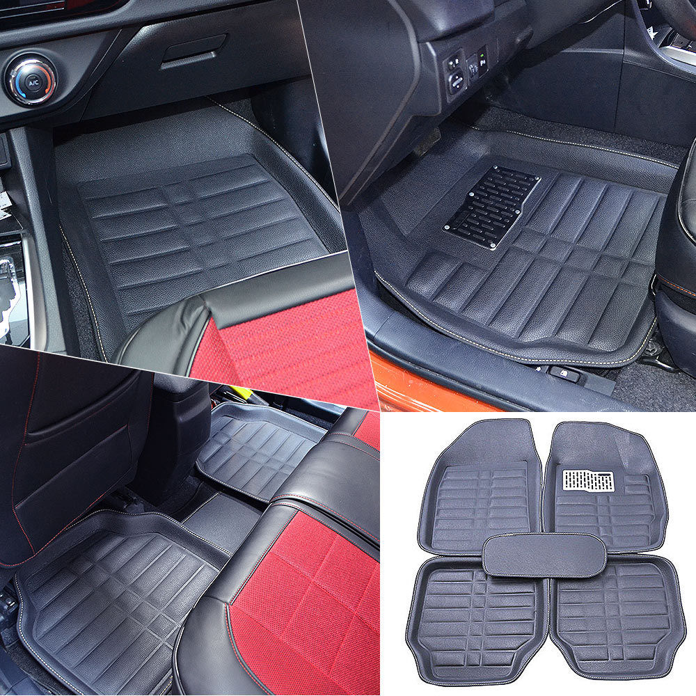 Awesome US Black 5pc Floor Mats All-Weather Universal 5