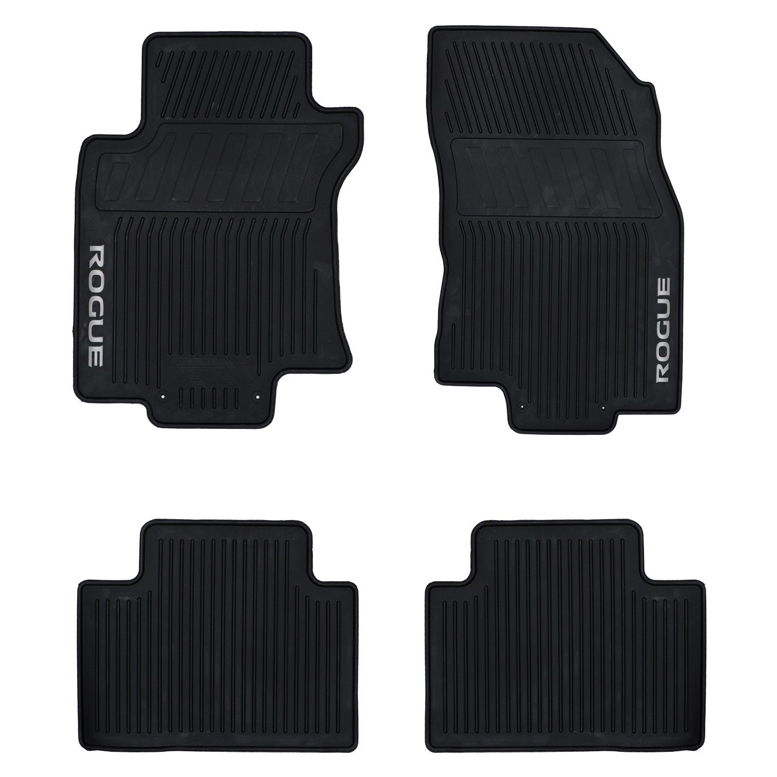 amazing 2014 2018 nissan rogue all weather rubber front rear floor mats set oem new 2017 2018. Black Bedroom Furniture Sets. Home Design Ideas