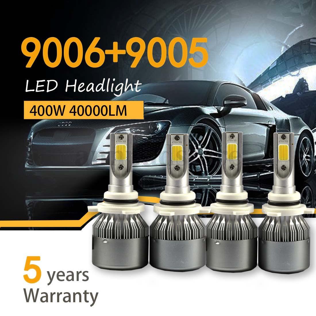 Amazing 4PCS 9005 9006 LED Total 400W 40000LM Combo Headlight High 6000K  White Kit Bulbs 2018-2019
