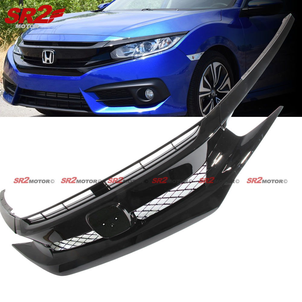 Great Black Front Hood Mesh Grill Grille Eyelid For 2016 2018 Honda Civic Coupe Sedan 2017