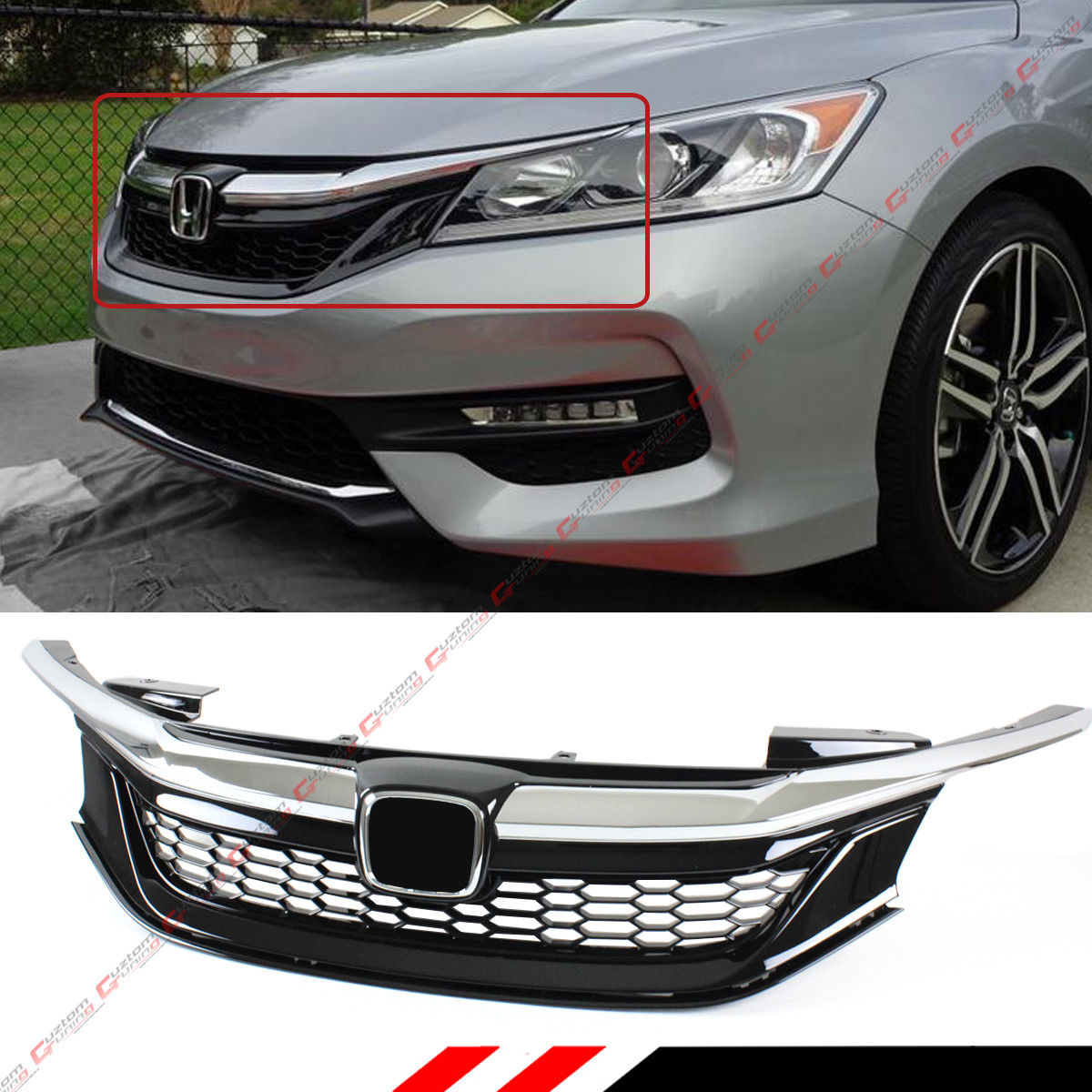 Awesome For 2016 17 9th Gen Honda Accord Sedan Chrome Black Jdm Sport Style Front Grille 2017 2018