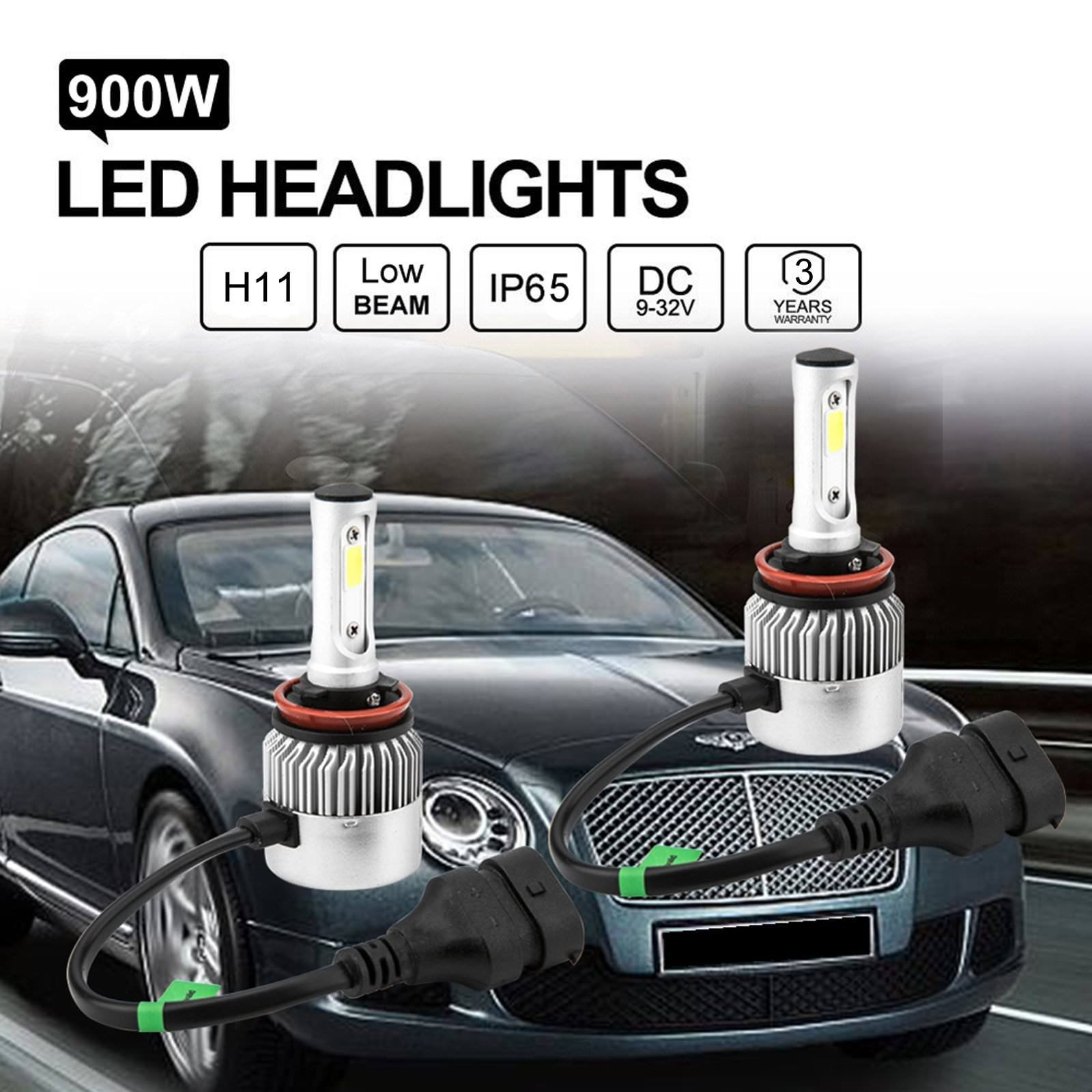 Pair COB H7 900W 135000LM Car LED Headlight Bulbs kit 6500K White Conversion