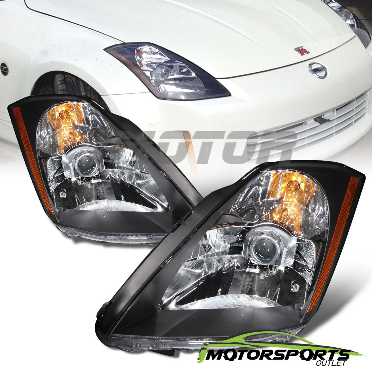 Awesome For 2003 2004 2005 Nissan 350z Coupe Z33 Fairlady Black Projector Headlights Set 2018 2019