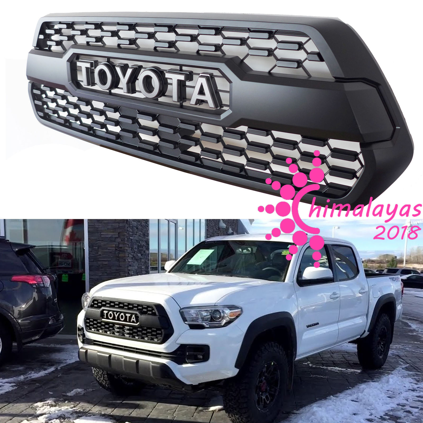awesome front bumper hood grille grill black for toyota. Black Bedroom Furniture Sets. Home Design Ideas