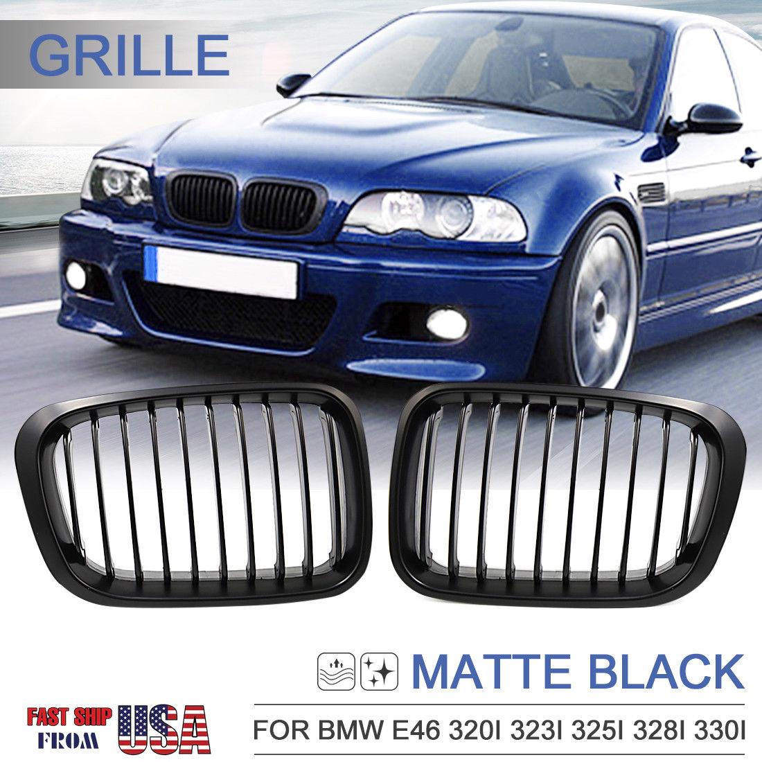 great matte black kidney grille grill for bmw 98 01 e46. Black Bedroom Furniture Sets. Home Design Ideas