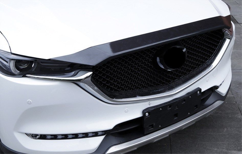 Carbon Fiber ABS Exterior Front Hood Grille Cover Trim For Mazda CX-5 2017 2018