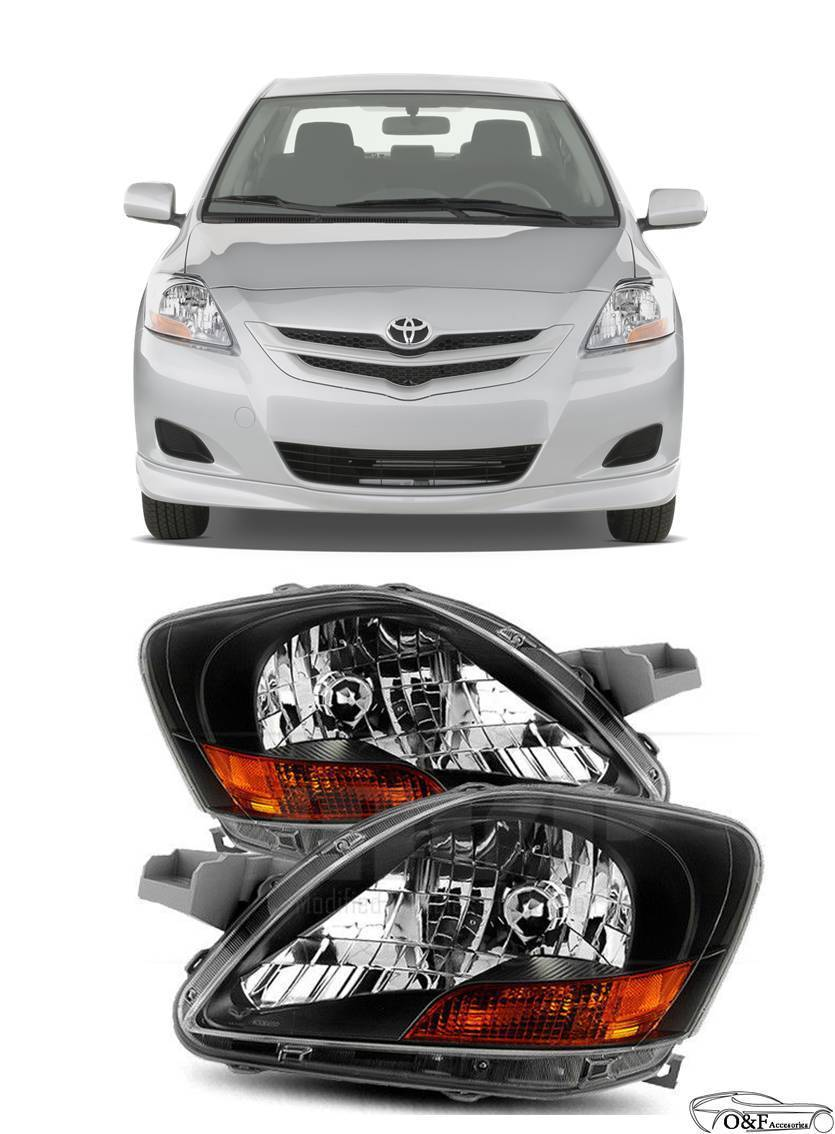 Awesome 2007 2017 Toyota Yaris Sedan Black Headlights Lamps Replacement Pair Set 2018