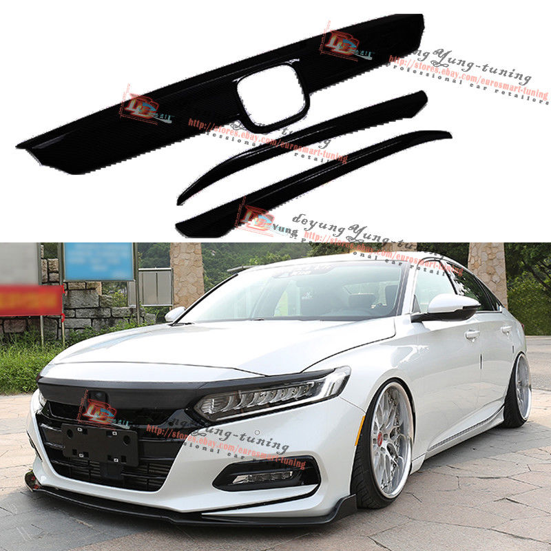 Amazing ABS Glossy Black Hood Lip Front Grille Cover