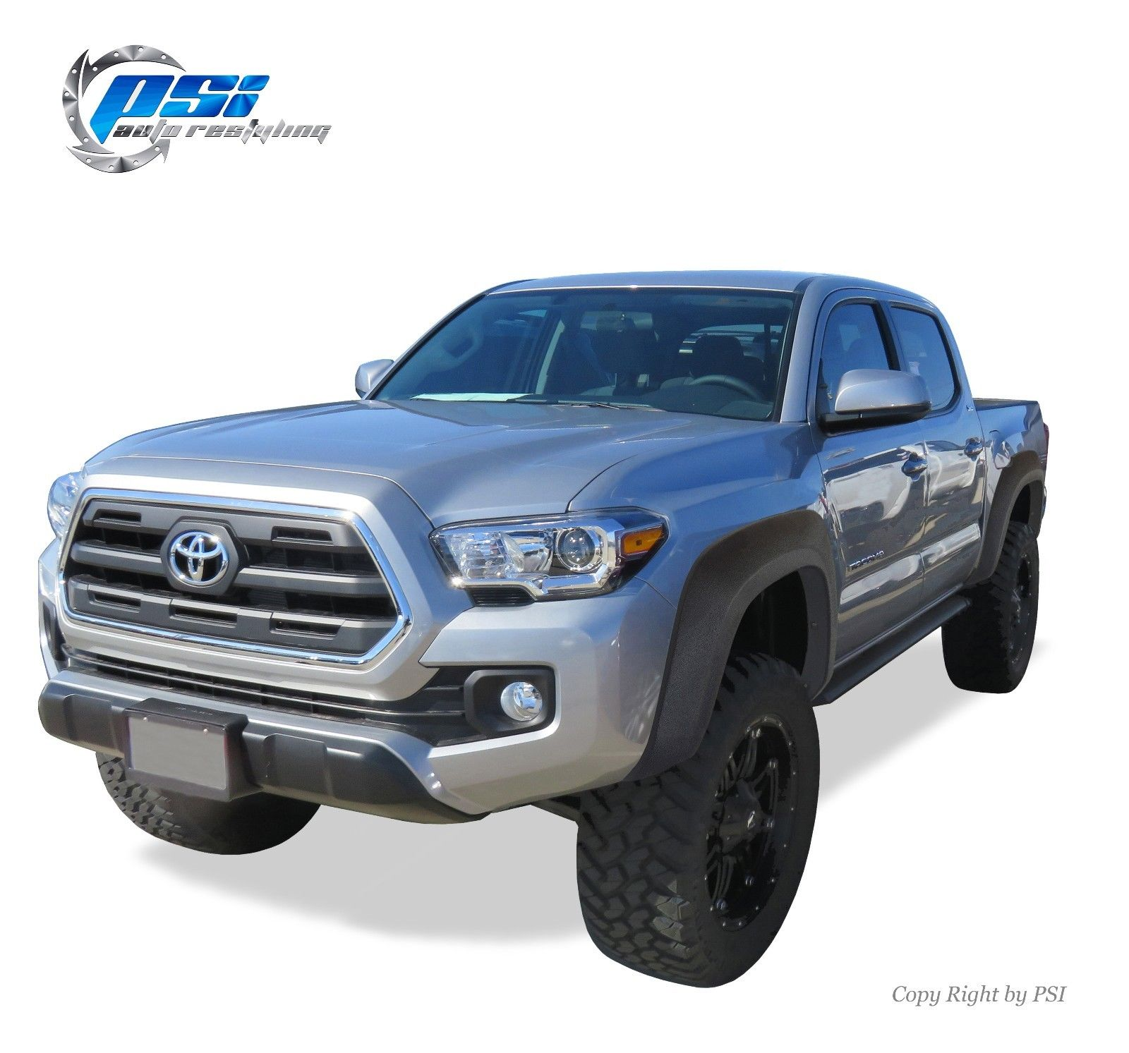 Used Black Textured Extension Style Fender Flares 2016 2017 Toyota Tacoma Full Set 2018 Mycarboard Com