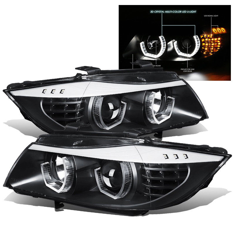 Amazing For 09 12 Bmw E90 3 Series Black Led 3d Angel Eye Halo Projector Headlights Lamp 2019