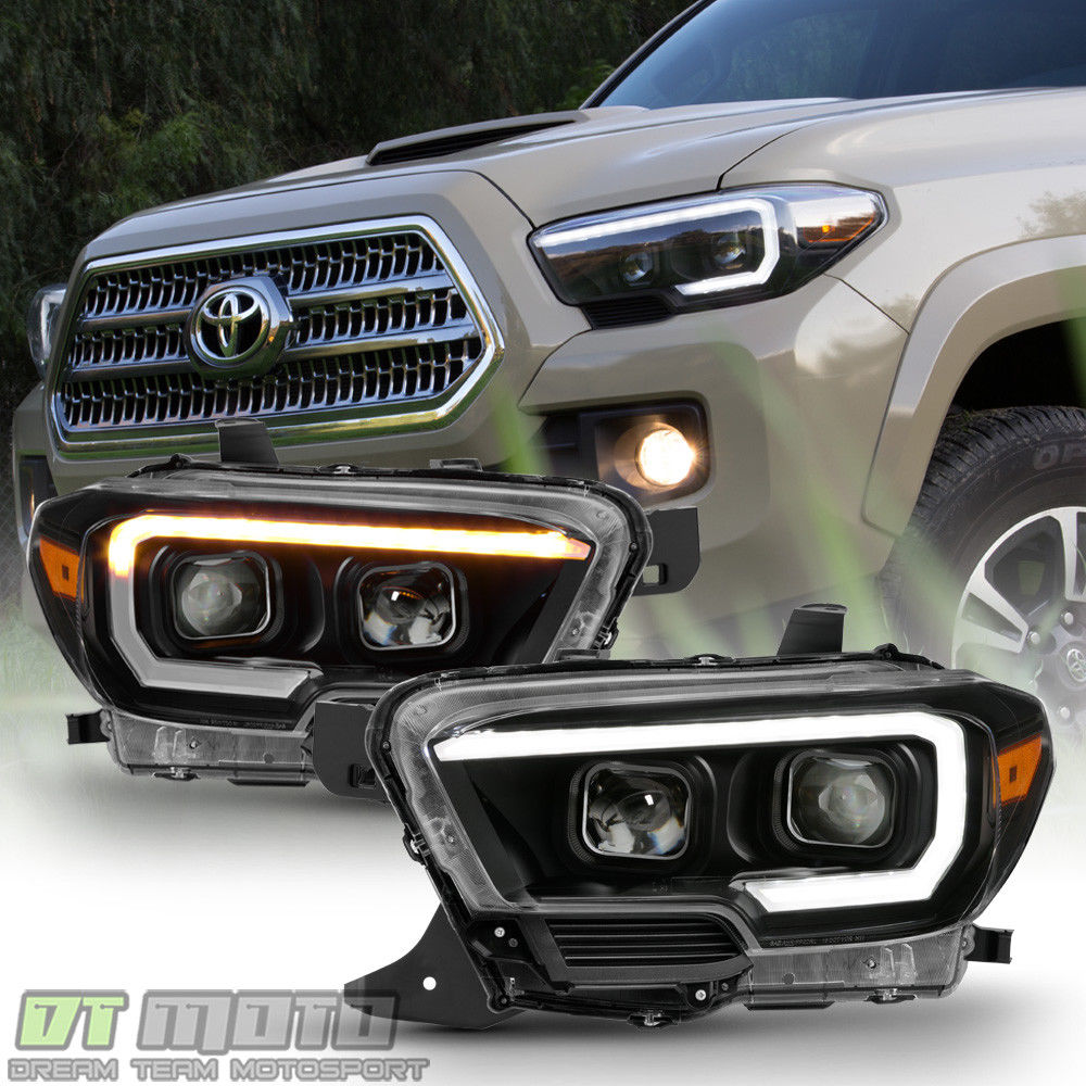 Amazing For Black 2016 2017 Toyota Tacoma Led Sequential Signal Drl Headlights Headlamps 2018