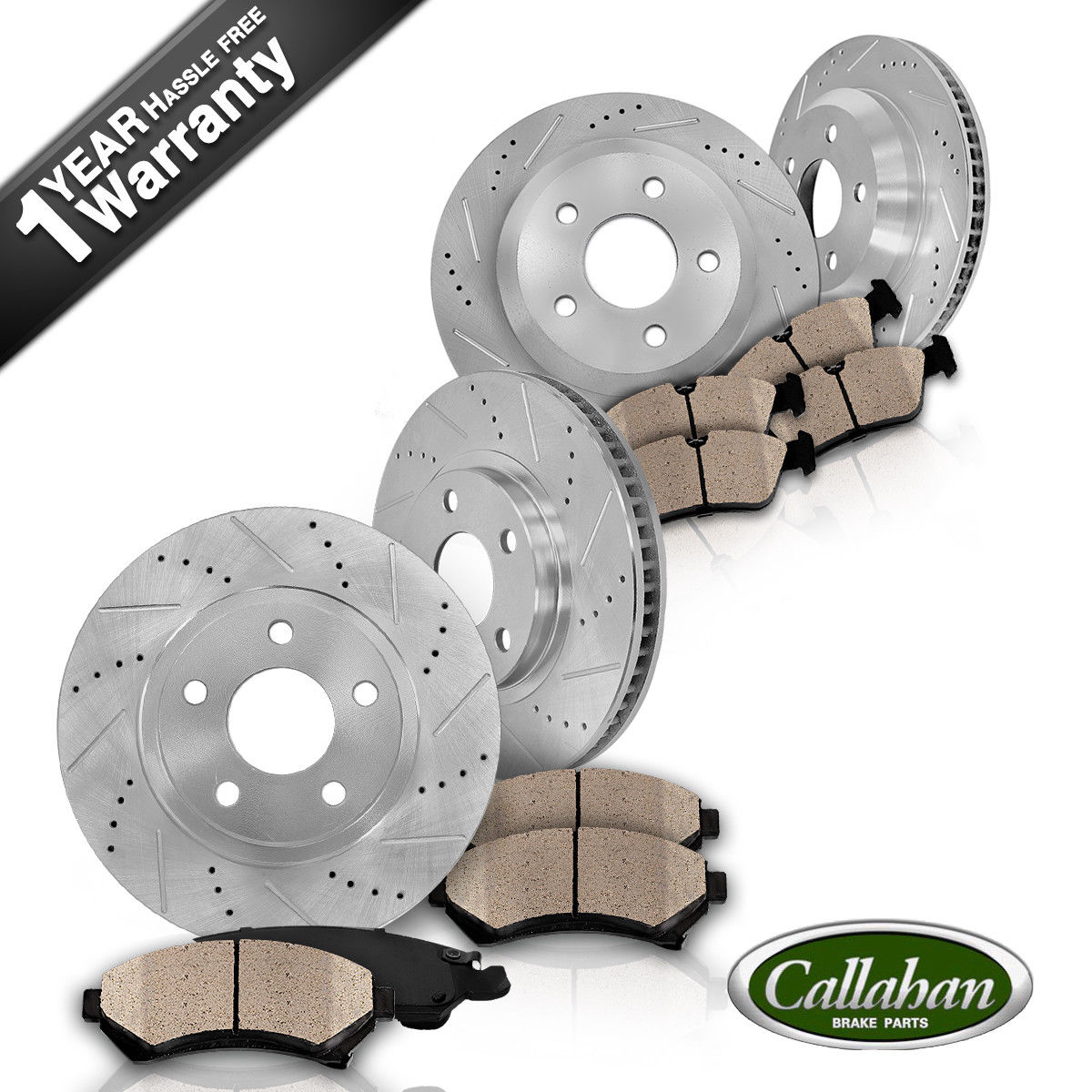 For BMW E46 330Ci Front Rear drilled and Slotted Brake Discs//Rotors Ceramic Pads