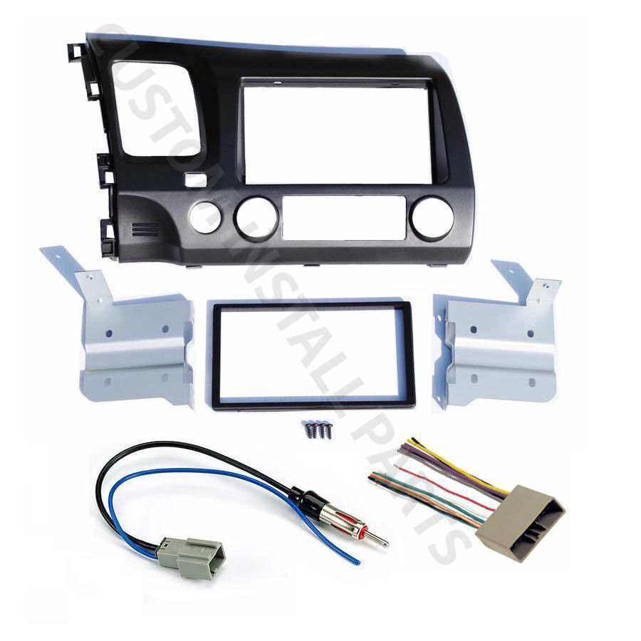 Awesome GREY Double Din Car Radio Dash Kit w/ Wiring Harness Fits 2006-2011 on