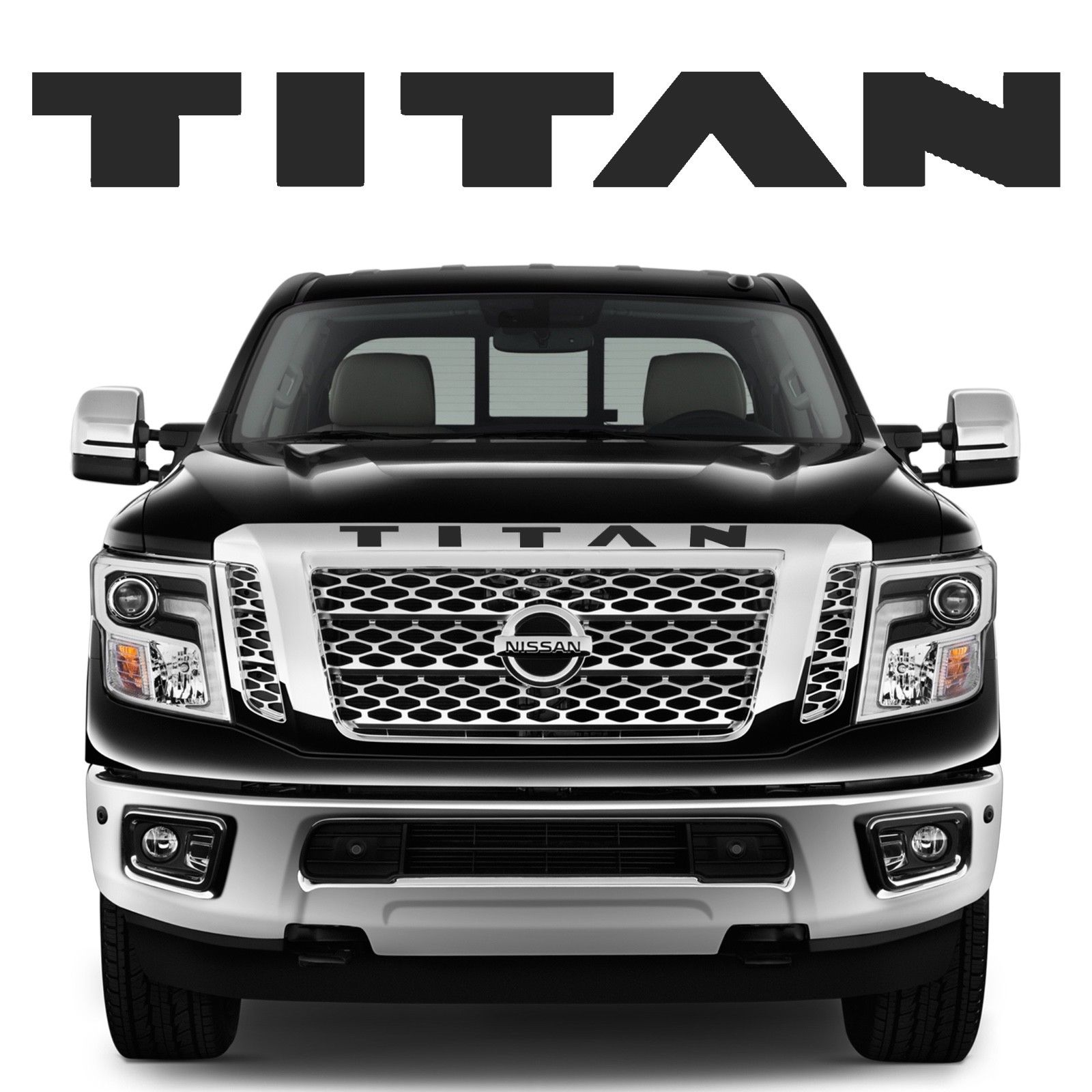 2019 Nissan Titan: Awesome Matte Black Front Grill Vinyl Decal Inlays For