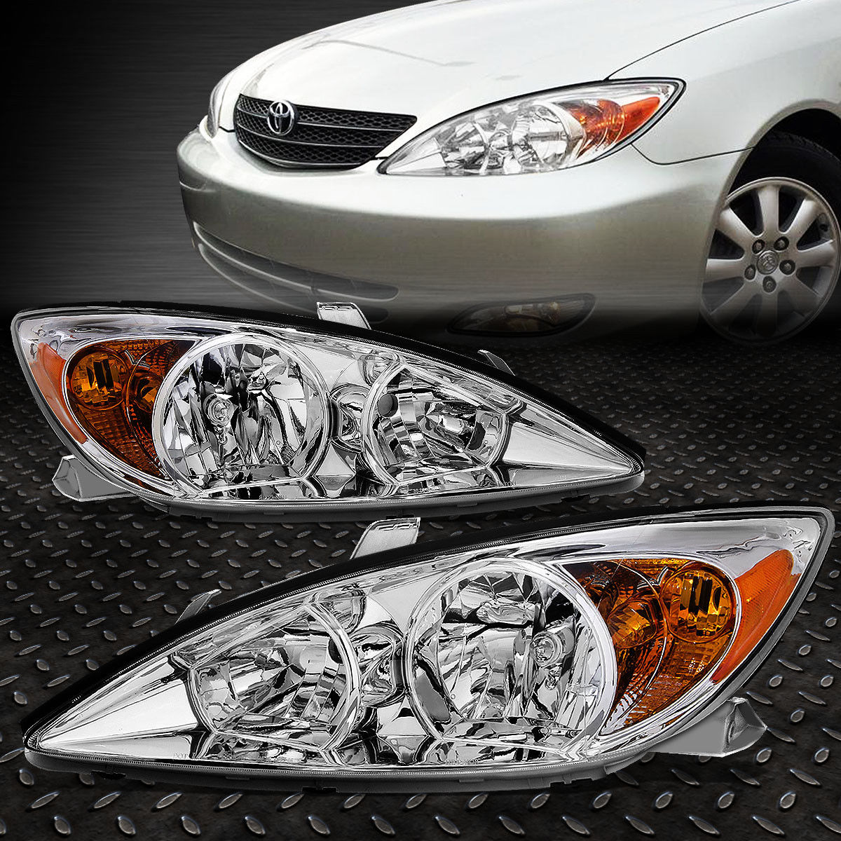 Great For 2002 2004 Toyota Camry Pair Chrome Housing Amber Corner Headlight Lamp Set 2019