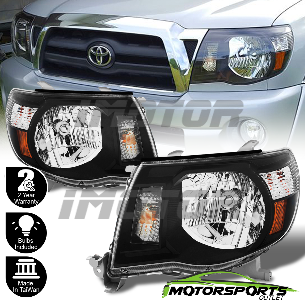 Awesome For 2005 2017 Toyota Tacoma Trd Style Black Headlights 2006 2007 2008 2009 2010 2019
