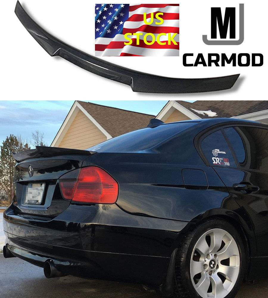 Awesome FIT FOR BMW E90 3 Series 335i 328i or M3 Sedan CARBON FIBER REAR  SPOILER M4 TYPE 2018-2019